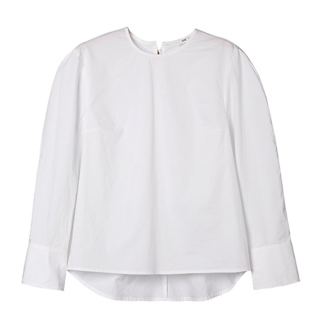 White Plain Round Neck Long Sleeve Standard Women's Shirt