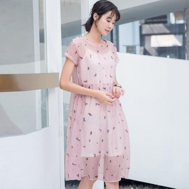 Pink Round Neck Short Sleeve 3/4 Length Standard Women's Dress