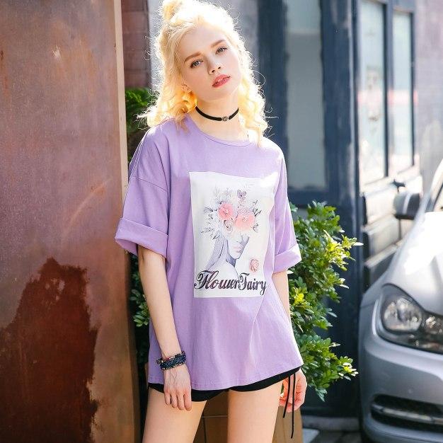 Purple Round Neck 3/4 Sleeve Loose Women's T-Shirt