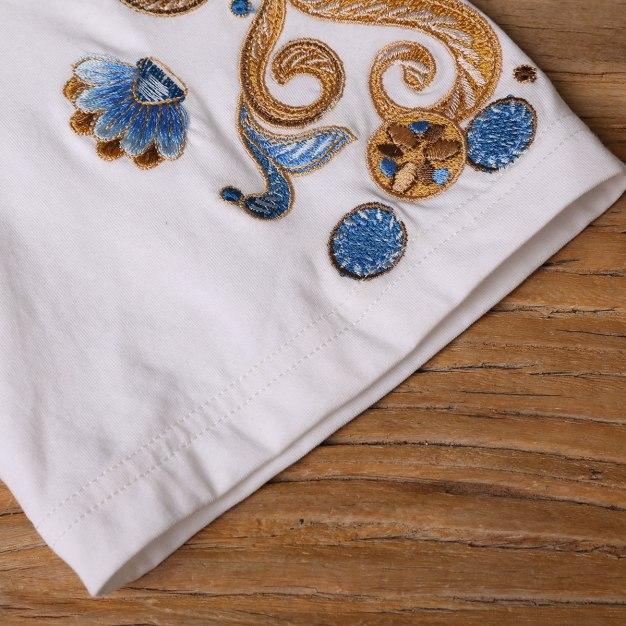 White Embroidery V Neck Short Sleeve Loose Women's T-Shirt