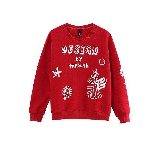 Print Round Neck Long Sleeve Loose Women's Sweatshirt