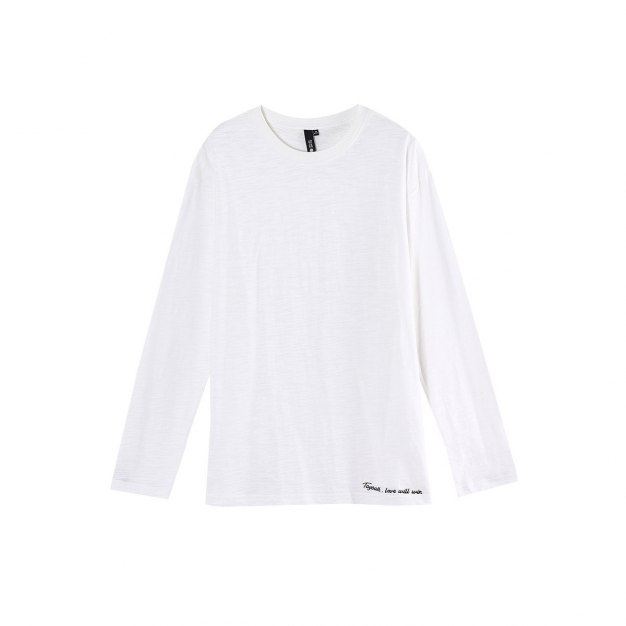 White Embroidery Round Neck Long Sleeve Loose Women's T-Shirt