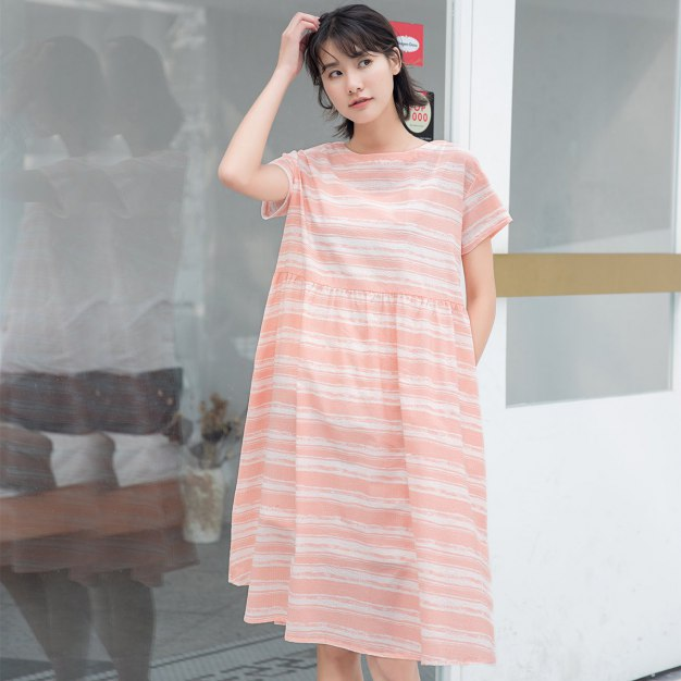 Pink Round Neck Short Sleeve 3/4 Length Loose Women's Dress