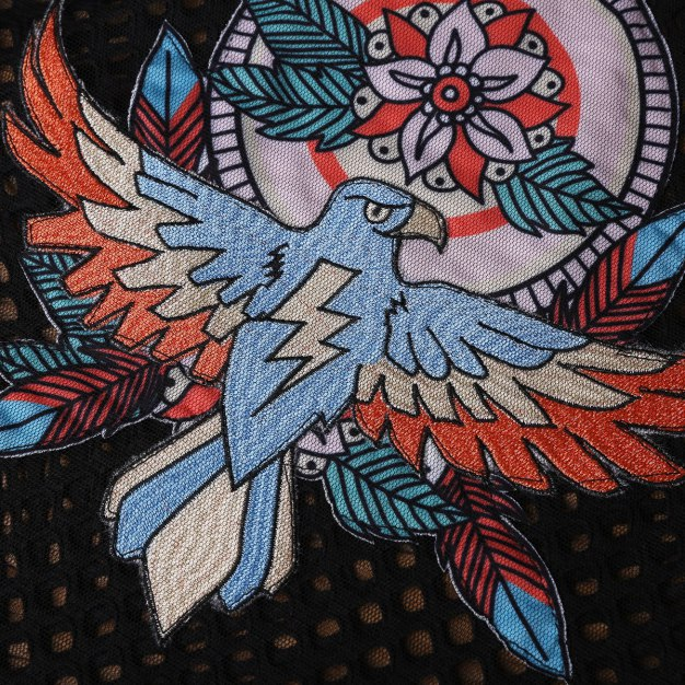 Black Embroidery Half High Collar Elastic Women's Shirt