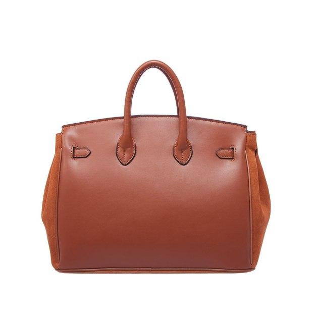 Brown Cowhide Leather Tote Bag Big Women's Tote