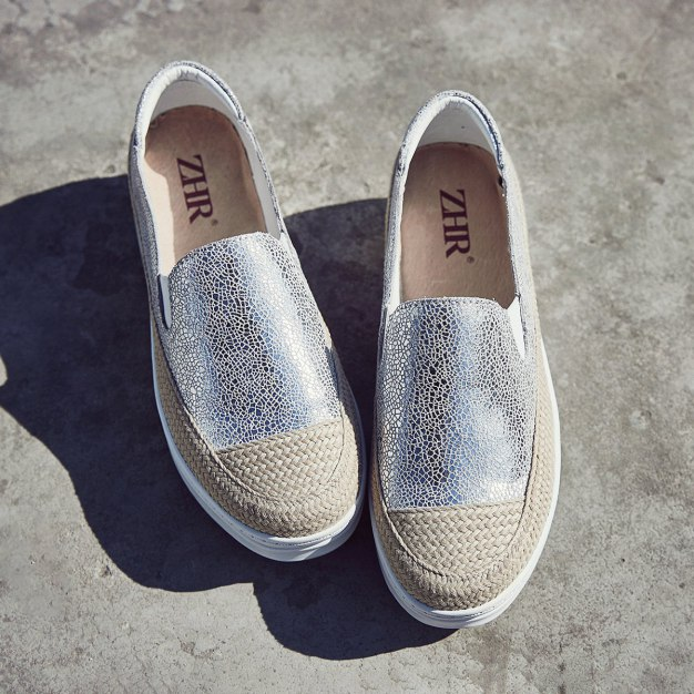 Silver Round Head Flat Women's Loafers