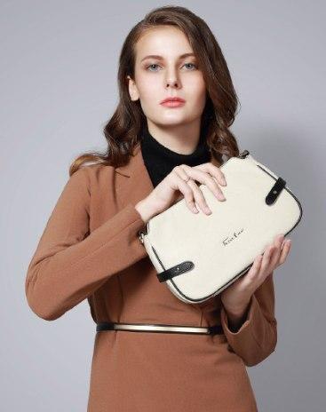 White Plain Cowhide Leather Small Women's Shoulder Bag
