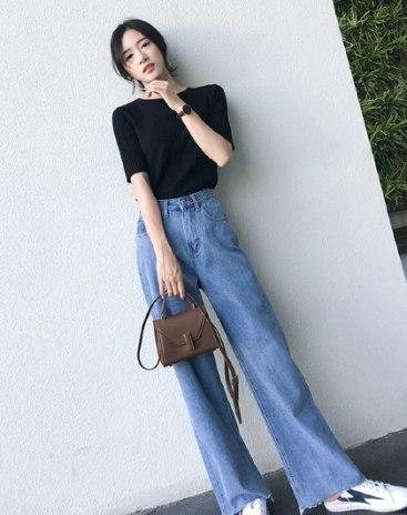 Blue High Waist Sewing Women's Jeans