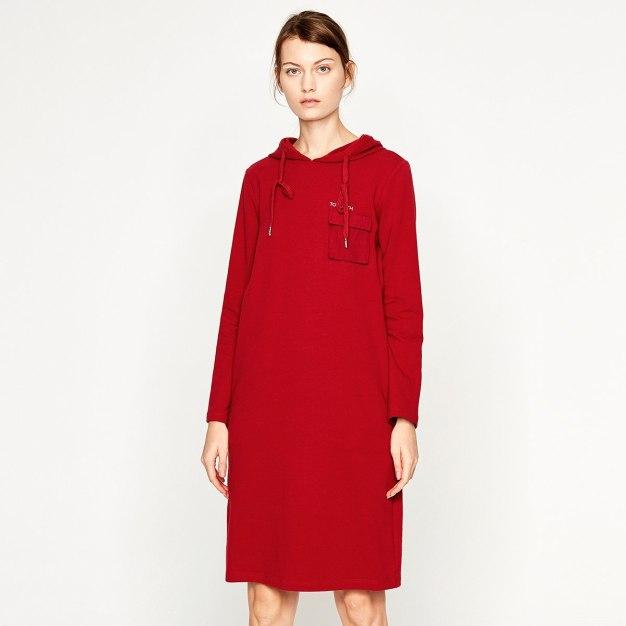 Red Hoodie Long Sleeve 3/4 Length Loose Women's Dress