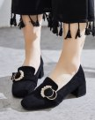 Black Square Toe Middle Heel Wear-Resistant Women's Pumps