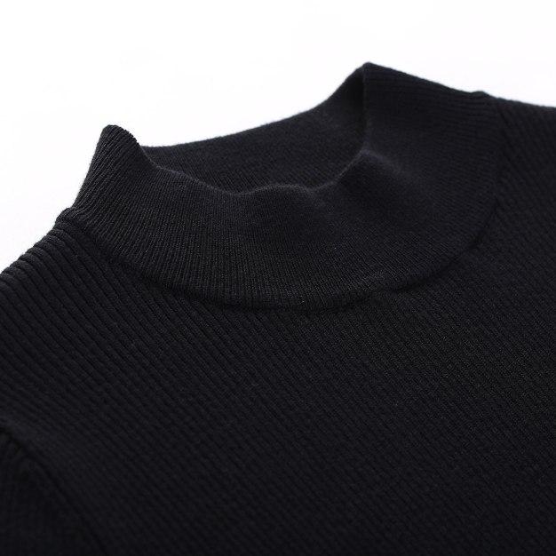 Black High Neck Long Sleeve 3/4 Length Fitted Women's Dress