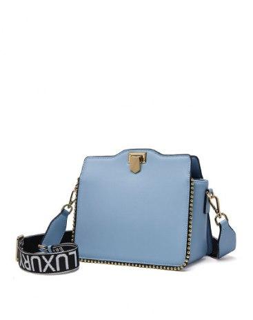 Blue Plain Cowhide Leather Small Women's Crossbody Bag