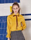 Yellow Stripes Lapel Single Breasted Long Sleeve Women's Shirt