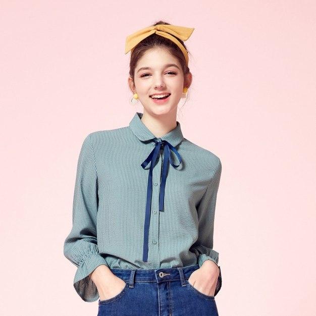 Blue Stripes Lapel Single Breasted Long Sleeve Women's Shirt