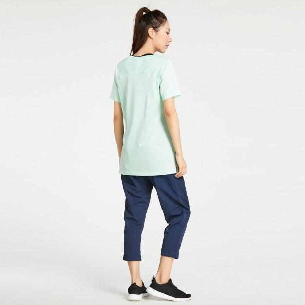 그린 반팔 표준 여성 티셔츠