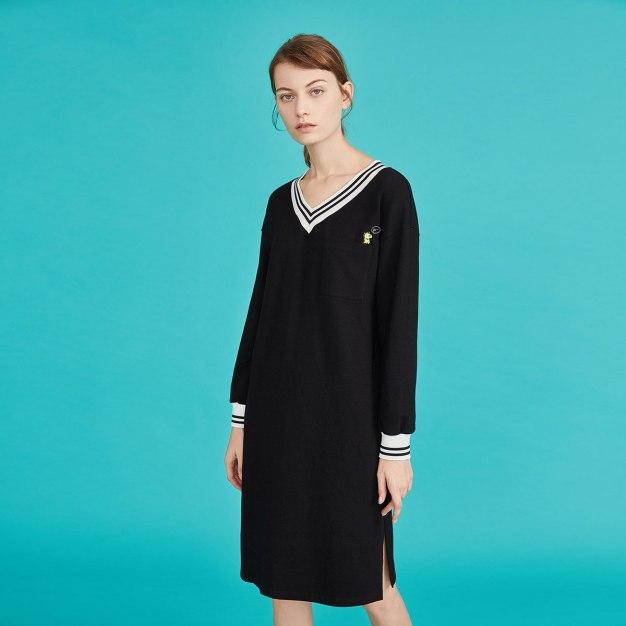Black V Neck Long Sleeve 3/4 Length Women's Dress