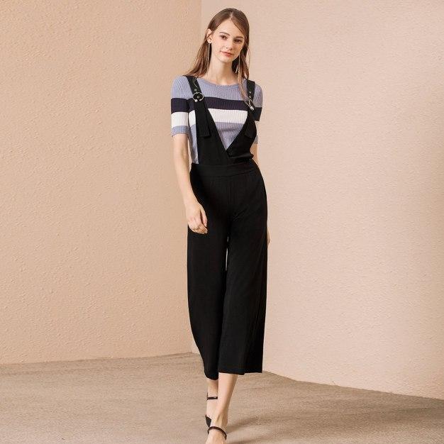 Black High Waist Long Women's Pants