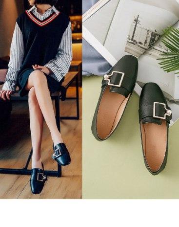 Black Cut Pointed Low Heel Portable Women's Pumps