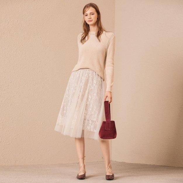 Beige 3/4 Length Women's A Line Skirt