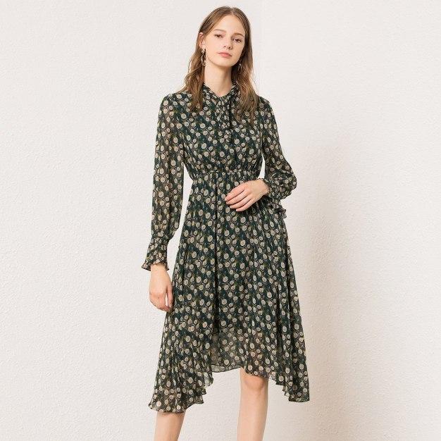 Green Strappy Neck High Waist 3/4 Length Women's Dress