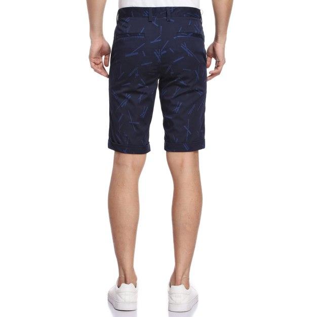 Blue Flanging Light Elastic Standard Short Men's Pants
