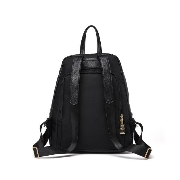 Black Cowhide Leather Big Plain Women's Backpack