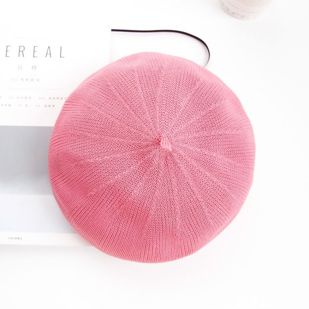 Pink Dome Beanie Polyester Beret Hat & Cap
