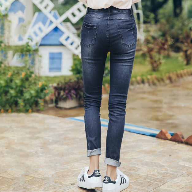 Blue Embroidery Women's Jeans