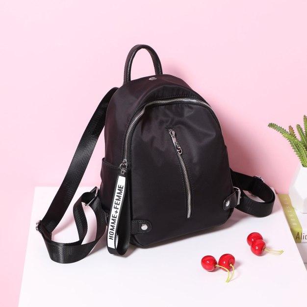 Black Oxford Cloth Big Plain Women's Backpack