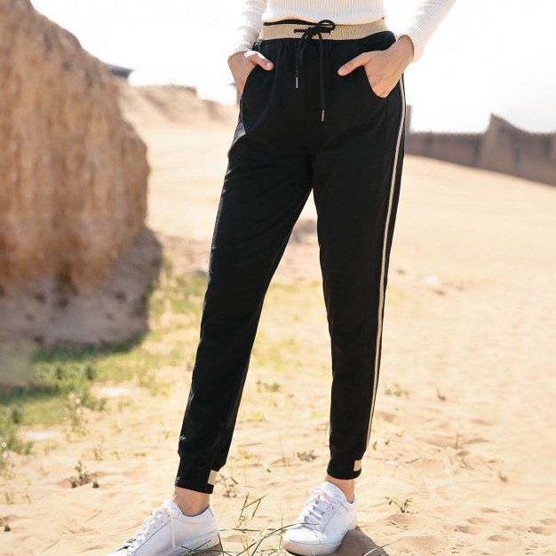 Black Weave Long Women's Pants
