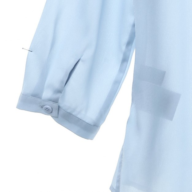 Blue Embroidery Round Neck Drawstring Type Women's Shirt