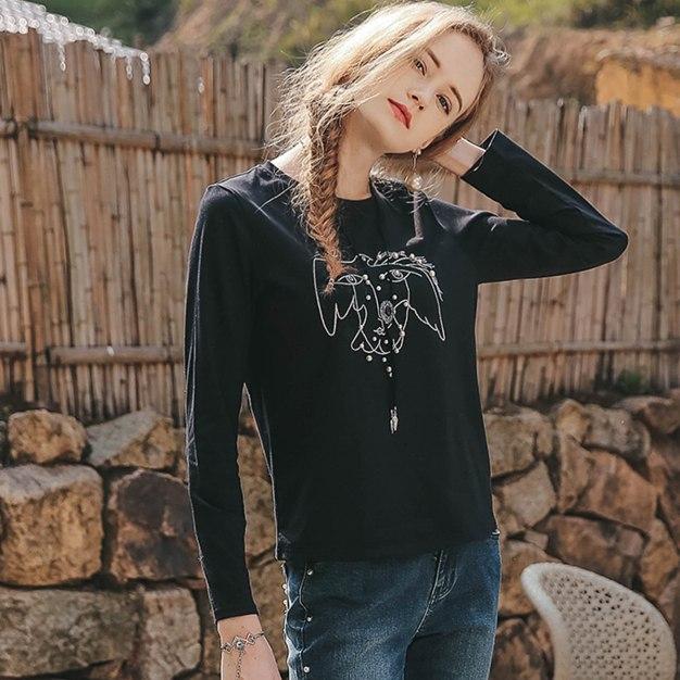 Black Round Neck Long Sleeve Standard Women's T-Shirt