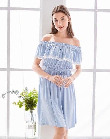 Blue Spandex(Lycra) Sleeveless Thin Women's Sleepwear