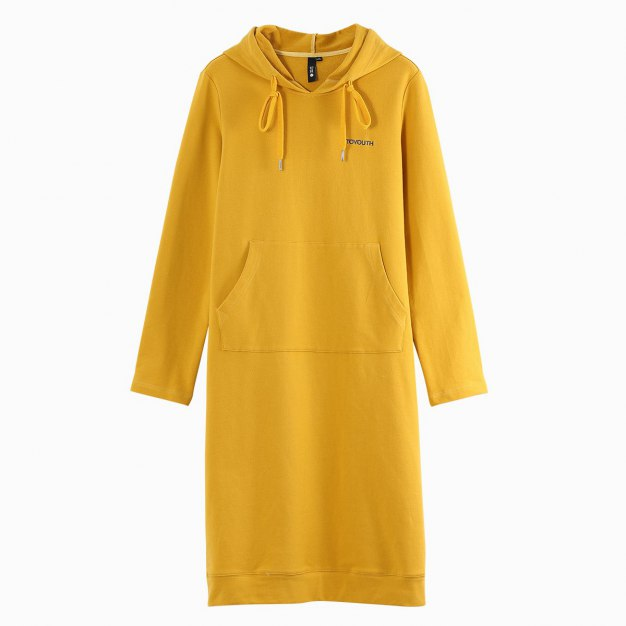 Yellow Hoodie Sleeve Loose Women's Dress