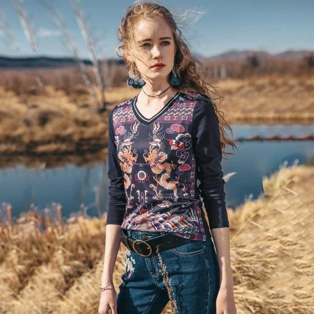 Blue V Neck Long Sleeve Standard Women's T-Shirt