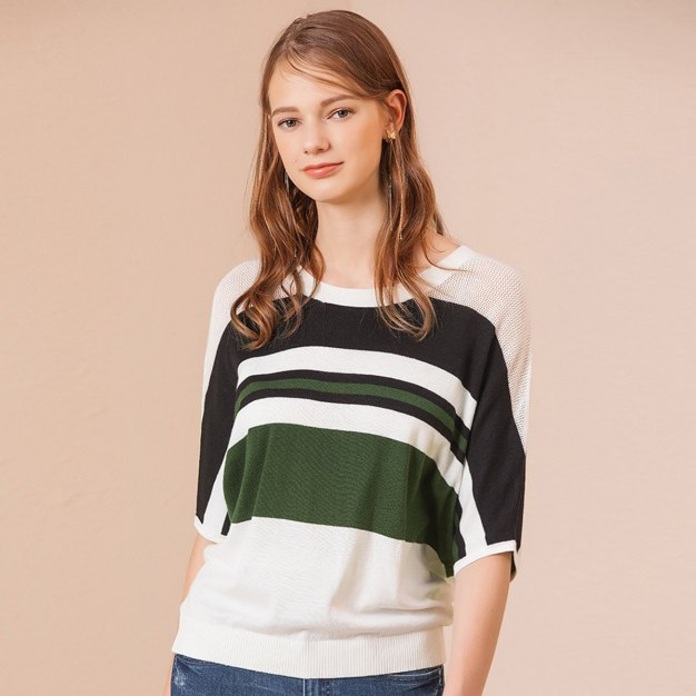 Stripes Round Neck Half Sleeve Loose Women's Knitwear