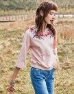 Pink Round Neck 3/4 Sleeve Standard Women's T-Shirt