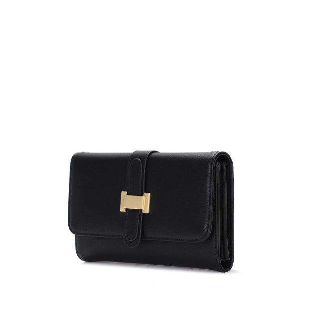 Black PU Small Plain Women's Wristlet