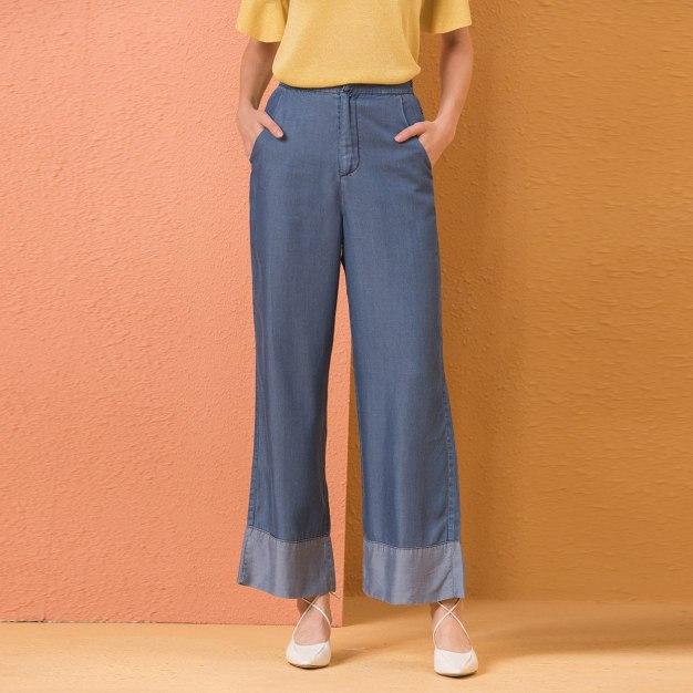 Blue High Waist Paneled Women's Jeans