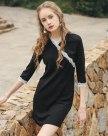 Black V Neck 3/4 Sleeve Pencil Skirt Standard Women's Dress