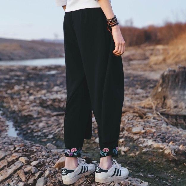 Black Embroidery Long Women's Pants