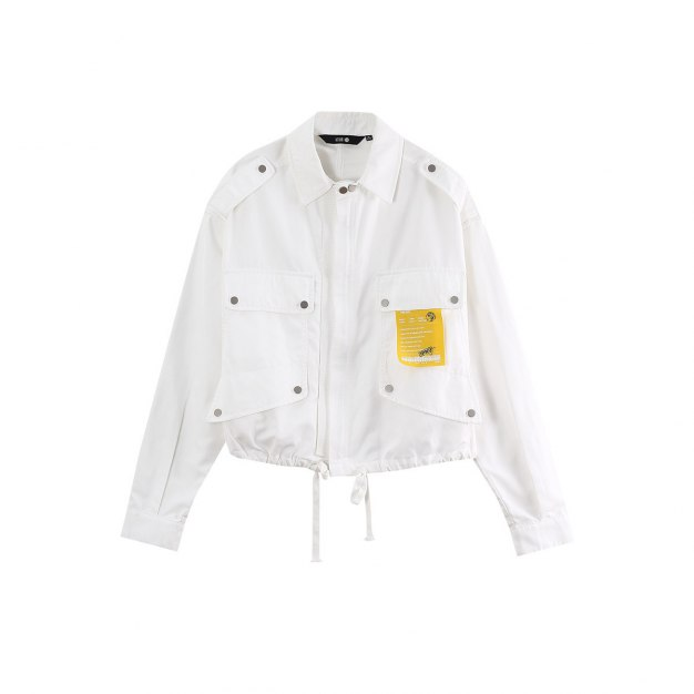 White Lapel Long Sleeve Loose Women's Outerwear
