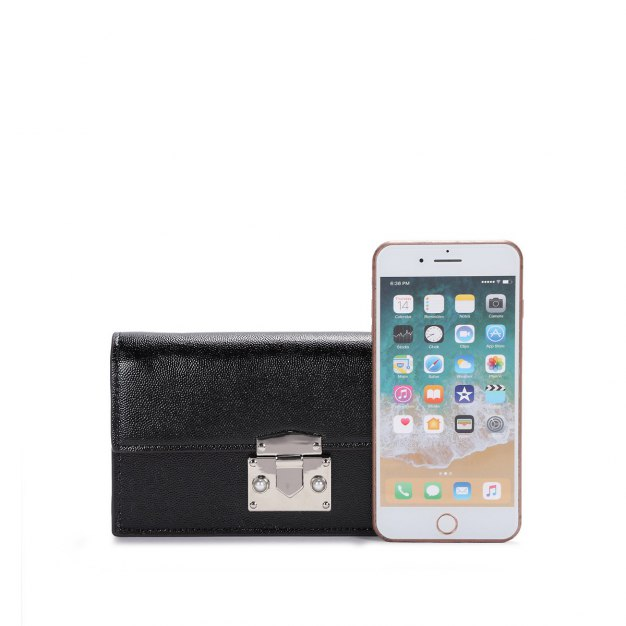 Black PU Small Plain Women's Wristlet