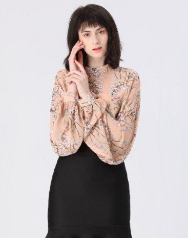 Orange Print Stand Collar Elastic Long Sleeve Women's Shirt