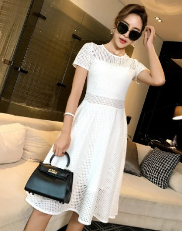 White Round Neck 3/4 Length A Line Fitted Women's Dress