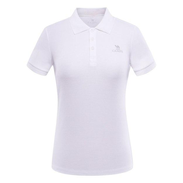 White Lapel Short Sleeve Quick Drying Women's T-Shirt