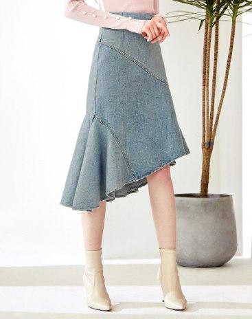 Blue High Waist 3/4 Length Women's A Line Skirt