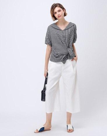 Black V Neck Elastic Short Sleeve Standard Women's Shirt