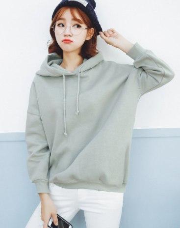 Elastic Long Sleeve Loose Women's Sweatshirt