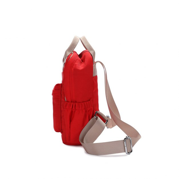 Red Oxford Cloth Medium Plain Women's Backpack
